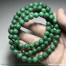 Gorgeous Rich Pea Green Jadeite Jade 76-Bead Necklace 18K White Gold Clasp 264ct