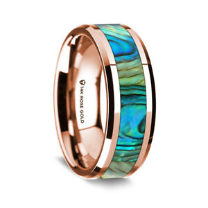 14K Rose Gold Polished Beveled Edges Wedding Ring Mother Of Pearl Inlay - 8mm