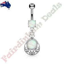 Silver Belly Ring With Glitter Opal & Jewelled Vintage Filigree Dangle