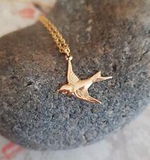 Designer 18K Gold Filled BIRD necklace tiny swallow choker dainty jewellery gift