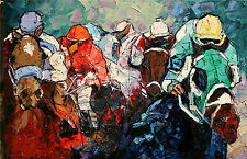 ANDRE DLUHOS Horse racing equine thoroughbred equestrian ltd edition . Art PRINT
