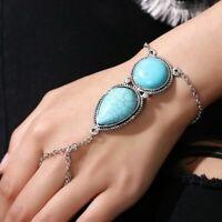 neue ethnische retro böhmische hand - kette finger - armband türkis schmuck