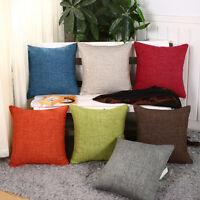 Cotton Linen Pillow Case Sofa Waist Throw Cushion Solid Cover Home Decor lot