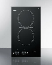 """Summit Cr2110 12"""" Smoothtop Electric Cooktop 2 Burners Built In 115 Volt Black"""