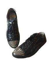 authentic Miu Miu studded black leather sneakers