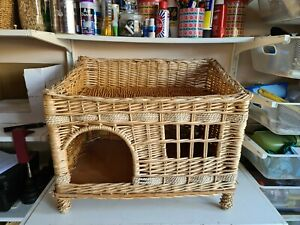 Vintage Large Wicker Rope Rattan Pet Crate Bed Basket Sofa Cats Kittens Housing