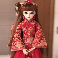 "Retro Wedding Bride 24"" 1/3 BJD Doll Eyes Face Make up Dress Wig Girl FULL SET"