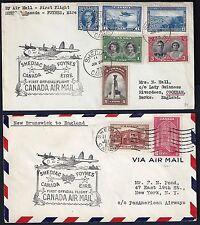 CANADA 1930's 40's FIVE COVERS TWO FIRST FLIGHT TO IRELAND FDC SASKATOON & CALGA