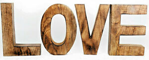 Large Wooden LOVE Word Letters Sign Free standing Mango Wood Ornament