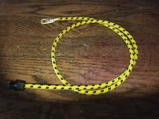 1920s Vintage Yellow/Black Cotton Braided Spark Plug Lead & Acorn 610mm
