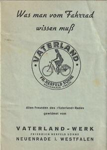 Prospekt Fahrrad Vaterland Werk Friedrich Herfeld Söhne Neuenrade