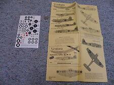 Ventura decals 1/72 V7208 Australian spitfires NZ Corsair Can Eg sea Fury N126