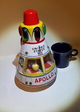 Vintage Working Battery Op Tin Toy JAPAN Apollo Astronaut Space Rocket Capsule