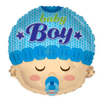 """Balloon 18"""" Baby Boy Head Mylar Blue Party Decoration Gifts It's a boy balloons"""