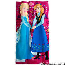 "Authentic Disney Store Frozen Elsa & Anna Pink Beach Towel 60"" H x 30"" W NWT"