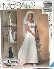 McCall's Sewing Pattern Wedding Dress & Train Bridesmaid Dress #8635 SZ 10 12 14