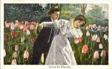 Antique 1917 Postcard Let Us Be Friends Tulip Garden Lovers Knobview St Louis MO
