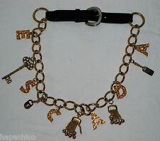 ESCADA Belt 10 40 Black Leather Gold Letters Charms Tassels Stars Lock Key Logo
