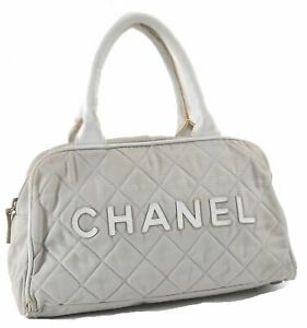 CHANEL Sports Line CC Logo Quilting Hand Boston Bag Canvas Leather Gray D9046