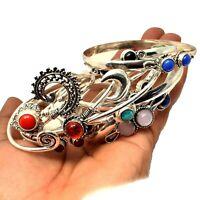 Lapis Lazuli & Mixed Wholesale Lot 925 Silver Plated 10pcs Cuff Bangle Bracelets