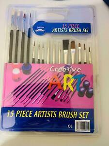 15 Pack Paintbrushes Children Kids Paints Arts Artist Brush Set Assorted