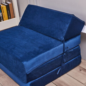 Velvet Fold Out Chair Single Double Z Bed Futon Couch Sleepover Guest Mattress