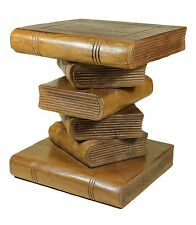 Small Wooden Stacked Book Table Stool - Side Table Lamp Plant Stand. Brown