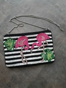 George Beaded Bag With Flamingo Motif