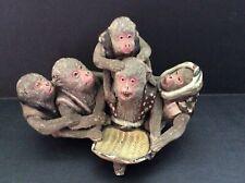 Sumida Gawa Japanese Pottery Group of Five Monkeys