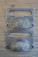 A PAIR OF LARGE EDWARDIAN CAST IRON LABEL FRAME HANDLE FILING DRAWER PULL CB10