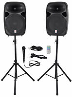 """Rockville RPG152K Dual 15"""" Powered Speakers, Bluetooth+Mic+Speaker Stands+Cables"""