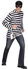 Burglar Adult Mens Costume Black And White Striped Shirt Fun World Standard