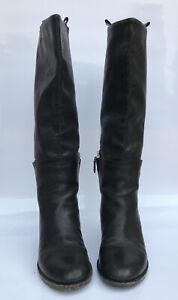 Max Mara Black Leather Boots 38 1/2 US 8.5