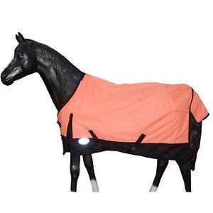 Lightweight Horse Turnout Rainsheet Waterproof 600D Ripstop Corel/Navy 5'6-6'9