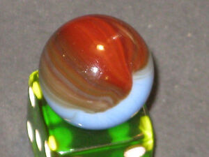 GORGEOUS BROWN & RED BLENDED TRICOLOR COMET VINTAGE MASTER MARBLE GLASS MARBLE