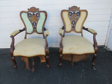 Victorian Early 1880s Pair of Carved Inlay Side Chairs  8711