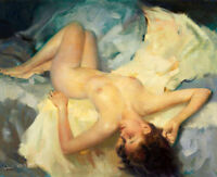 Art Giclee Beautiful Nude Woman in Bed Oil painting Printed on Canvas P1004