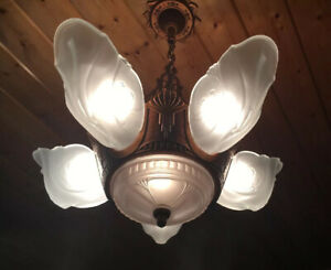 1930s Art Deco Antique Markel White Frost Glass 6 Light Chandelier Fixture