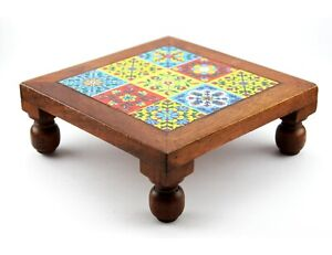 Indian Style Comfortable Wooden Ceramic Small Stool For Home And Office Decor
