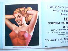 Original Pin Up Blotter Jules Erbit Sexy Red Head Lingerie Advertising 1940's