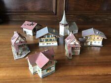 Konvolut Berghäuser, Bauernhäuser, Kirche, 7 Gebäude, Spur N