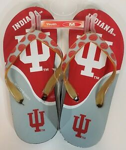 NWT Indiana University IU red & gray basketball flip flops sandals youth M (1-2)