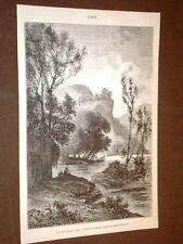 Gravure année 1873 L'Anio - Bords du Teverone