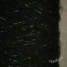 SOFT BRUSHED MOHAIR WOOL YARN BLACK SILVER LUREX GLITTER 500g CONE 10 BALL 3 PLY