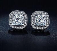 White Gold Silver Princess Crystal/Cubic Zirconia Diamante Square Halo Earrings
