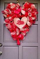 "X-Large 30"" Valentine's Day Burlap & Deco Mesh Heart Shaped Wreath Door Decor"