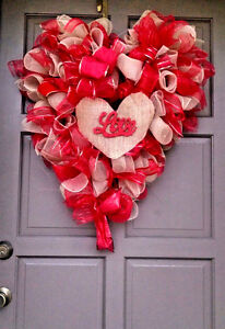 """Huge 30"""" Valentines Day Wreath Heart Shaped Burlap Red Deco Mesh Gift or Decor"""