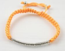 Silver Tone Sideways Bar Arch Shape Bracelet / Bangle Macrame / Macramé Unisex