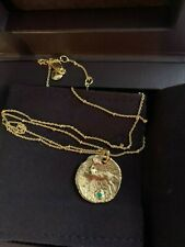 BNIB Monica Vinader Siren Coin Gemstone Pendant Charm with Gold Vermeil Chain