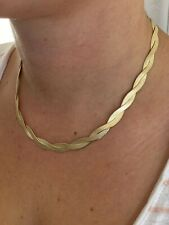"""14k Gold Over Solid 925 Silver Twisted Braided Herringbone Chain Necklace 16-20"""""""